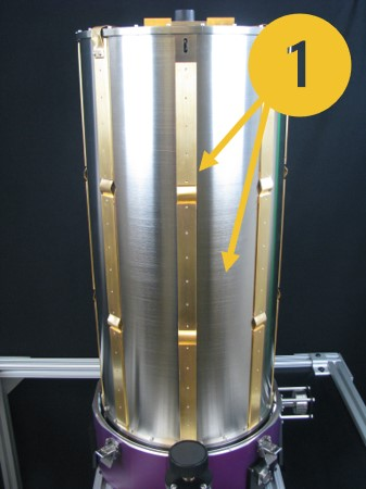 Cryostat with custom radiation shield by Infrared Laboratories